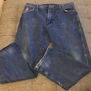 Wrangler flame resistant jeans.